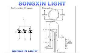 Image 5 - LED de 5mm RGB, 1000 Uds., cátodo común difuso, 4 pines, diodos emisores de tricolor RGB, 5MM, lámpara LED roja/verde/azul