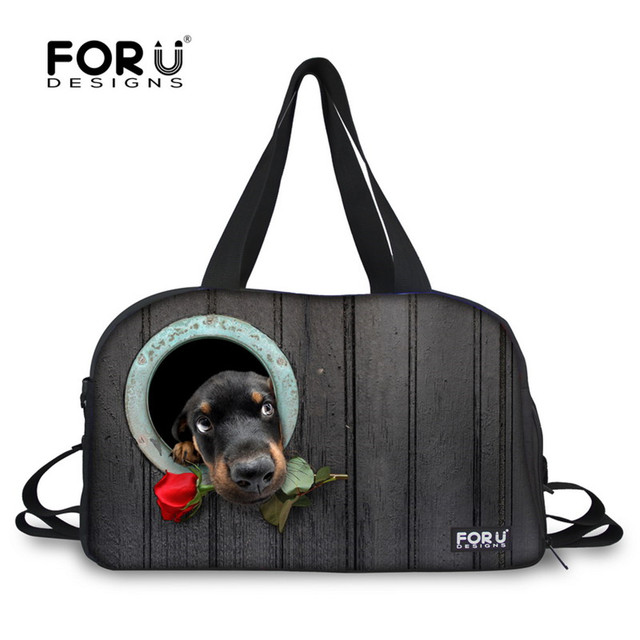 FORUDESIGNS Rose Dogs Lovely Printing Women Gym Bag Training Fitness Sports Bag Men Yoga Pack Traveling Sports Bag Middle Size