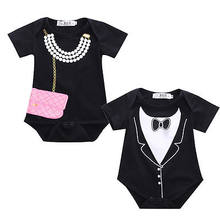 NEW Hot Baby Girl Boy Tuxedo Romper Jumpsuit Bag Pearl Kids Summer Boys Gentleman Girls Necklace Costume One-pieces 0-18M(China)