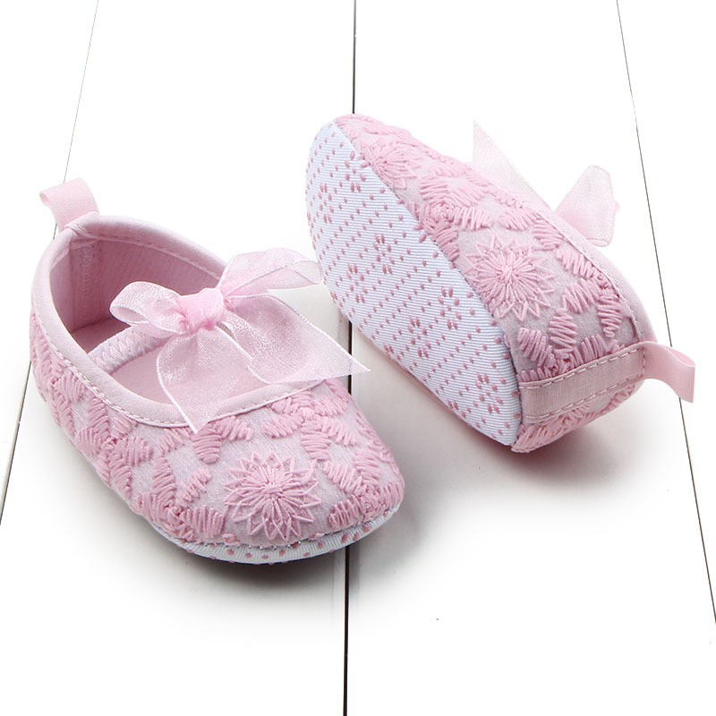 New Newborn Cute Babys Infants Girls Elastic Shallow Bowknot Toddler Soft Sole Crib First Walkers Shoes S2