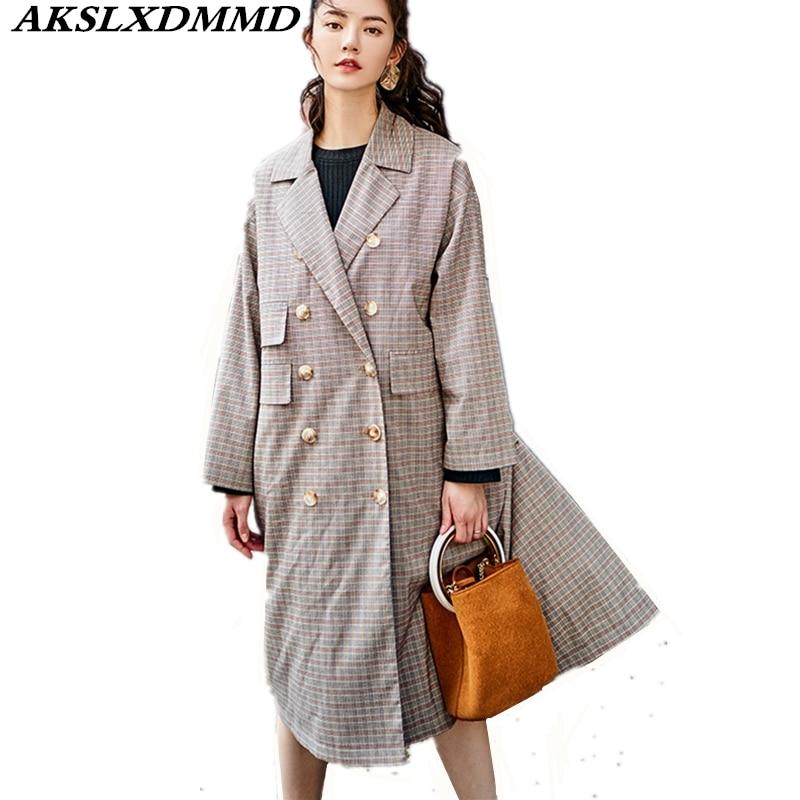Trench Picture Printemps Mode coats Hot Mi The Plaid Mince New Grande coat longueur As Taille Automne Femmes Cw198 Trench Tempérament 2019 4SnBxRXq