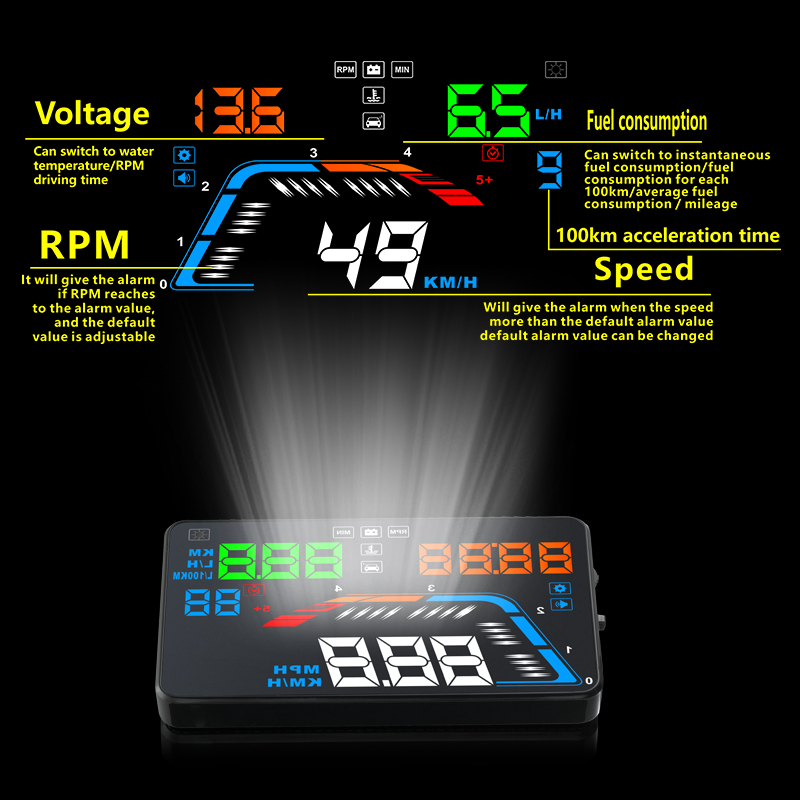 Image 2 - Universal Car GPS HUD Q7 GPS Speedometer Car Electronics Q700 OBD Head Up Display Projector Velocimetro Digital Free Shipping-in Head-up Display from Automobiles & Motorcycles