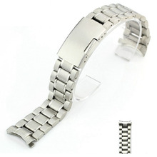 22mm Curved End Solid Stainless Steel Bracelet Watch Band Strap Wrist Strap Light Soft For Men Women Wristwatch (Silver)
