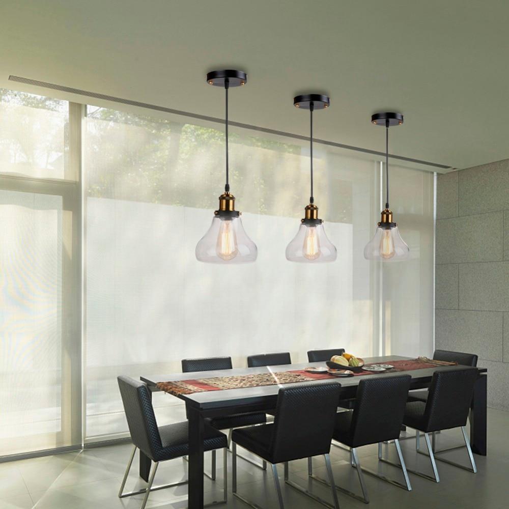 Retro Vintage Pendant Lights Clear Glass Lampshade Loft Pendant Lamps E27 110V 220V for Dinning Room Home Decoration Lighting цена и фото