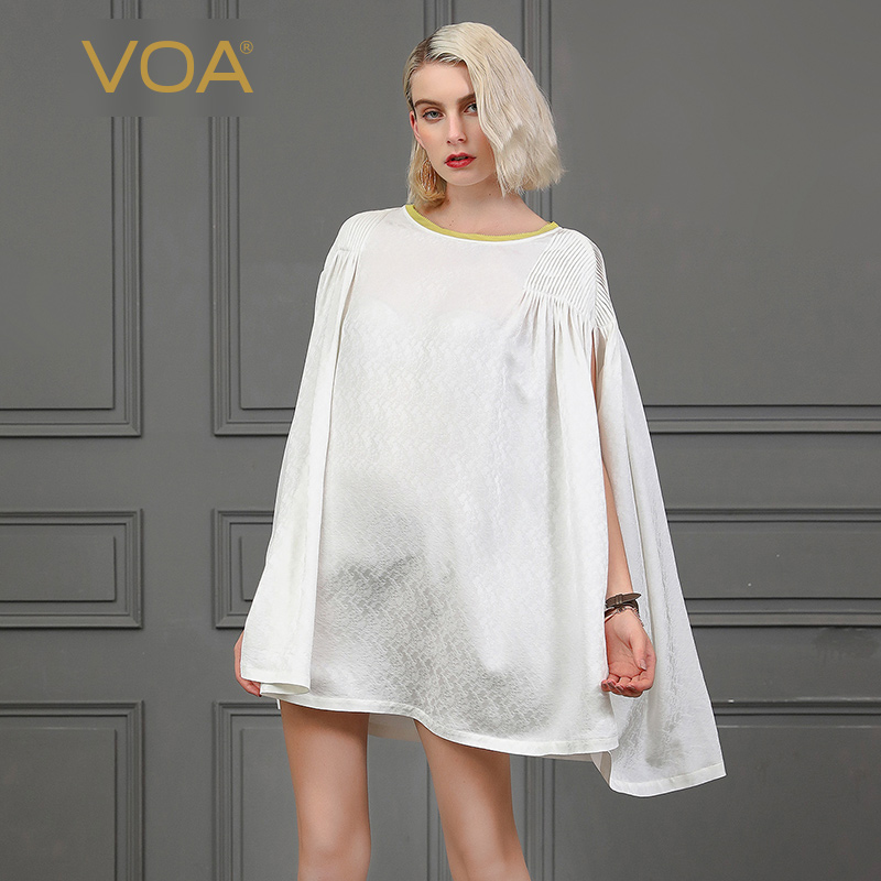 VOA Harajuku T Shirt vêtements Streetwear 100% soie t-shirt dames pull haut mujer B850