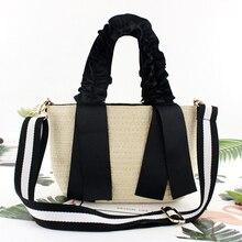 شريط أسود محمول الدانتيل القش حقيبة واحدة حقيبة يد حقيبة من القماش موضة جديدة حقيبة يد حقيبة شاطئية