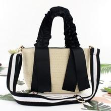 Black ribbon portable lace straw bag Single shoulder handbag woven bag new fashion handbag beach bag