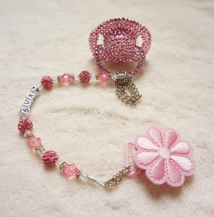 Chaud! rose princesse fait à la main en cristal strass tétine - Nourrir - Photo 4