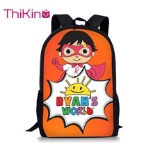 Thikin Casual Ryan's World Cartoon Cute Print School Bags for Teen Boys School Backpack Cartoon Pattern Bookbag Lovely Satchel sweet print and cartoon design satchel for women