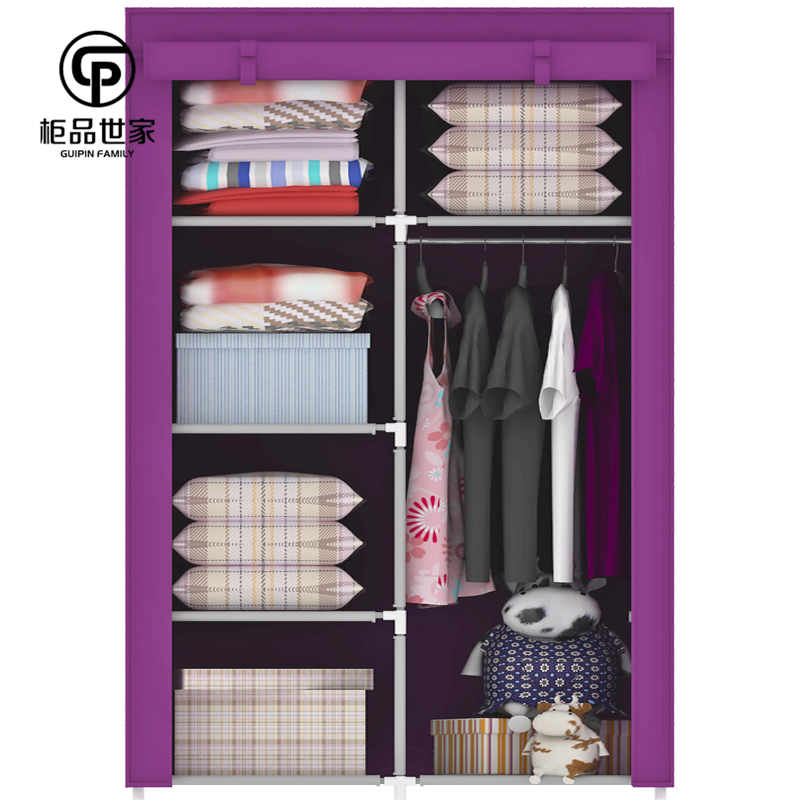 Cabinet simple wardrobe 4 storage with hanging clothes rod tape ...