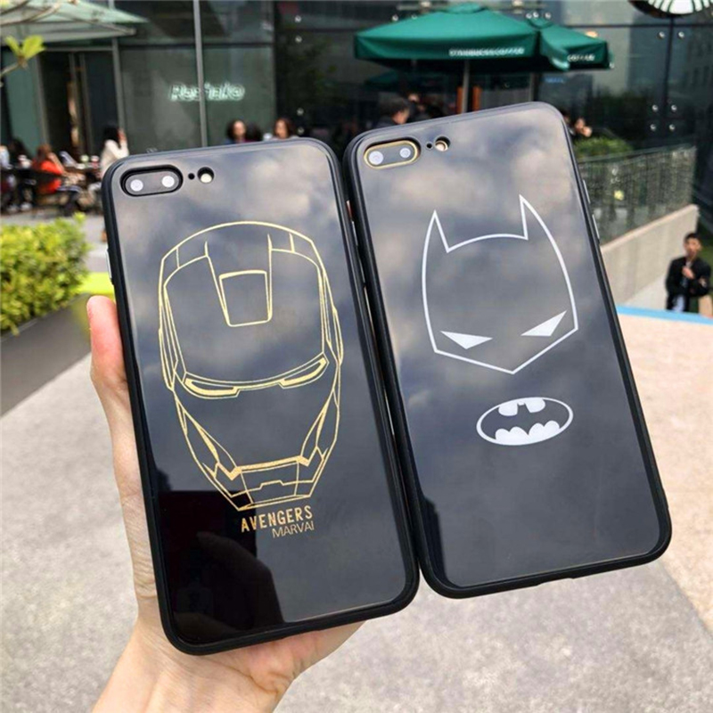 Luxury Marvel The Avengers Batman Iron Man Mirror soft cover case for iphone 6 6S 7 8 plus Fashion phone Tempered Glas cases