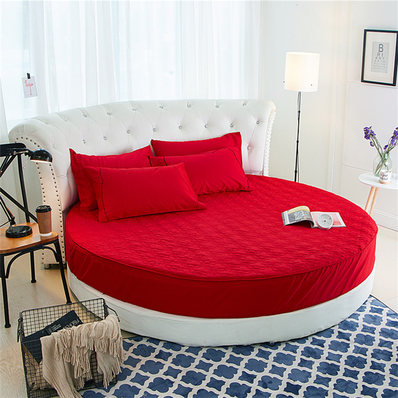 Ev ve Bahçe'ten Yatak Kılıfları ve Tutucular'de Yuvarlak kapitone yatak koruyucu % 100% pamuklu çarşaf romantik yuvarlak yatak çarşafı tema otel düğün yatak'da  Grup 3