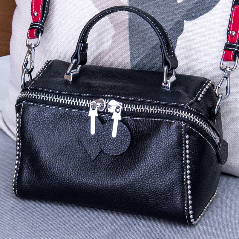 Fashion Rivet Tote Bag Lady Luxury Cow Leather Shoulder CrossBody Bags For Women Messenger Bags Genuine Leather Women's Handbags