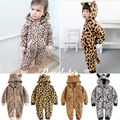 Free Shipping 6 Pieces/lot 0-3 Year Augelute Baby New Animal Thick Coral Velvet Leopard and Zabra Print Rompers