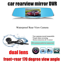 Big sale New arrival Dual lens 1080P rear view mirror driving recorder 4.3 inch night vision parking monitoring 5 inch with rear camera