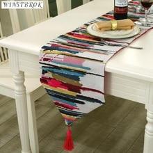 2017 New Fashion Table flag European High Grade Linen Cotton Colorful Jacquard Strip Runners Flag Dinner Mats