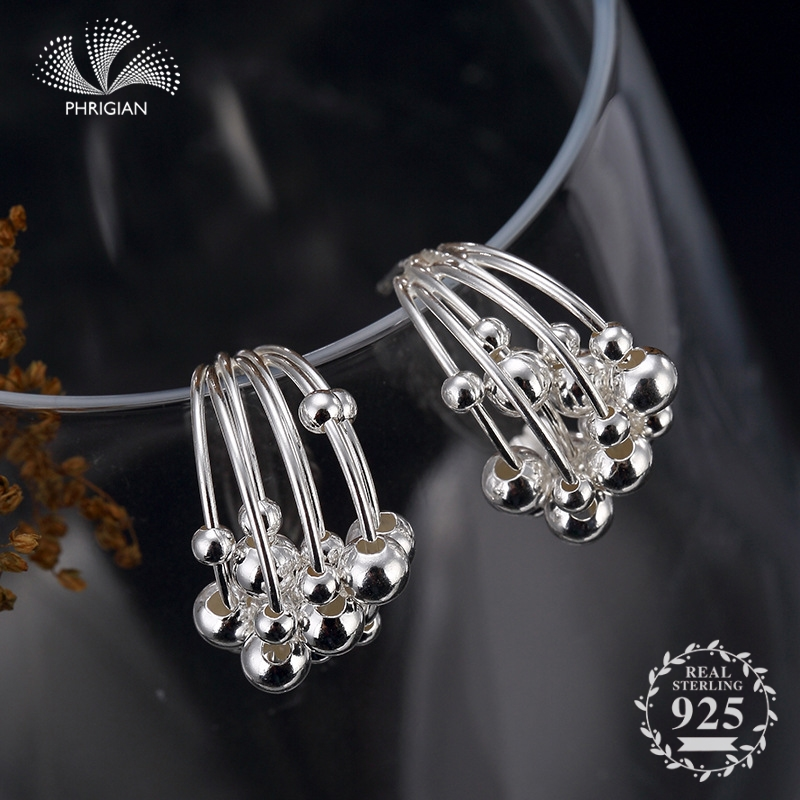 NOT FAKE S925 Fine Jewelry Earrings 100% Sterling Silver handicraft Antique store Vintage Exquisite beads 925 stud earrings