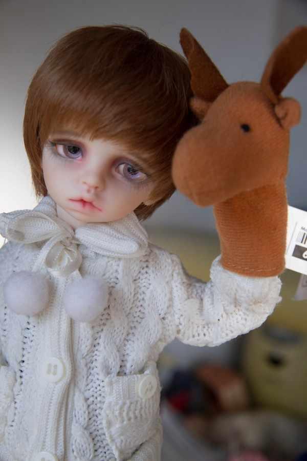 1/3 1/4 1/6 BJD SD DD MSD YOSD tóc giả búp bê ngắn bạc hà keiskei kết hợp màu trắng-nâu Cao-nhiệt độ dây tóc giả tóc dễ dàng để chăm sóc búp bê