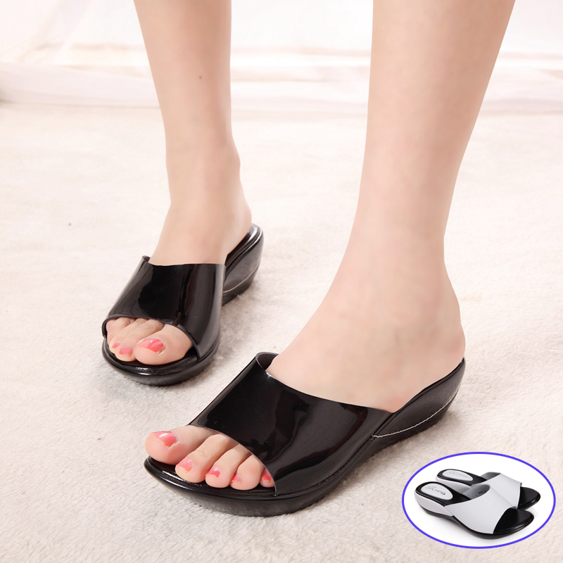 Women Wedges Slippers Shoes 2016 Summer Brand Casual Leather Women Platform Slipper Sandals For Ladies Slides