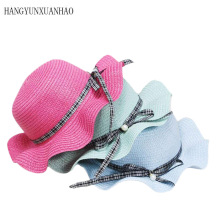 Fashion Cute Childrens Summer Pearl Bowknot Straw SunHats Baby Boho Beach Hat Sun Kids Panama UV Protection Hats & Caps