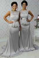 Cecelle 2019 Formal Silver Coral Mermaid Lace Bridesmaid Dresses Train Sleeveless Women Wedding Party Dresses Custom Made New
