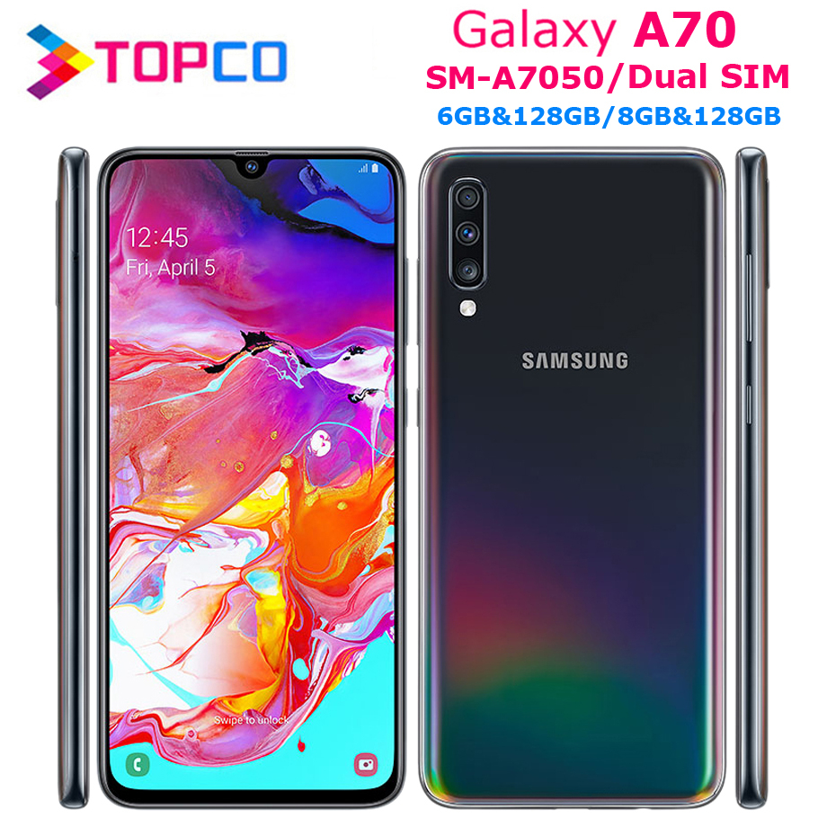 Samsung Galaxy A70 A7050 смартфон с 5,5-дюймовым дисплеем, восьмиядерным процессором Snapdragon 6,7, ОЗУ 6 ГБ, ПЗУ 128 ГБ, 675 ГБ