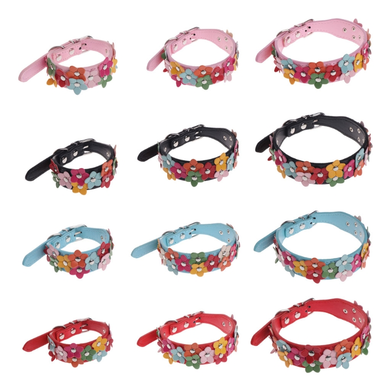 Pet Collar Dog Cat Puppy Adjustable Strap Flower Identify Faux Leather Outdoors Puppy Kitten Kitty Collars Harnesses Leads