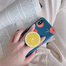 5pcs TPU anti-fall soft cell phone cover with cute summer fruit air bag bracket for  iPhone 6 6s 7 8plus X XS XR Free shipping