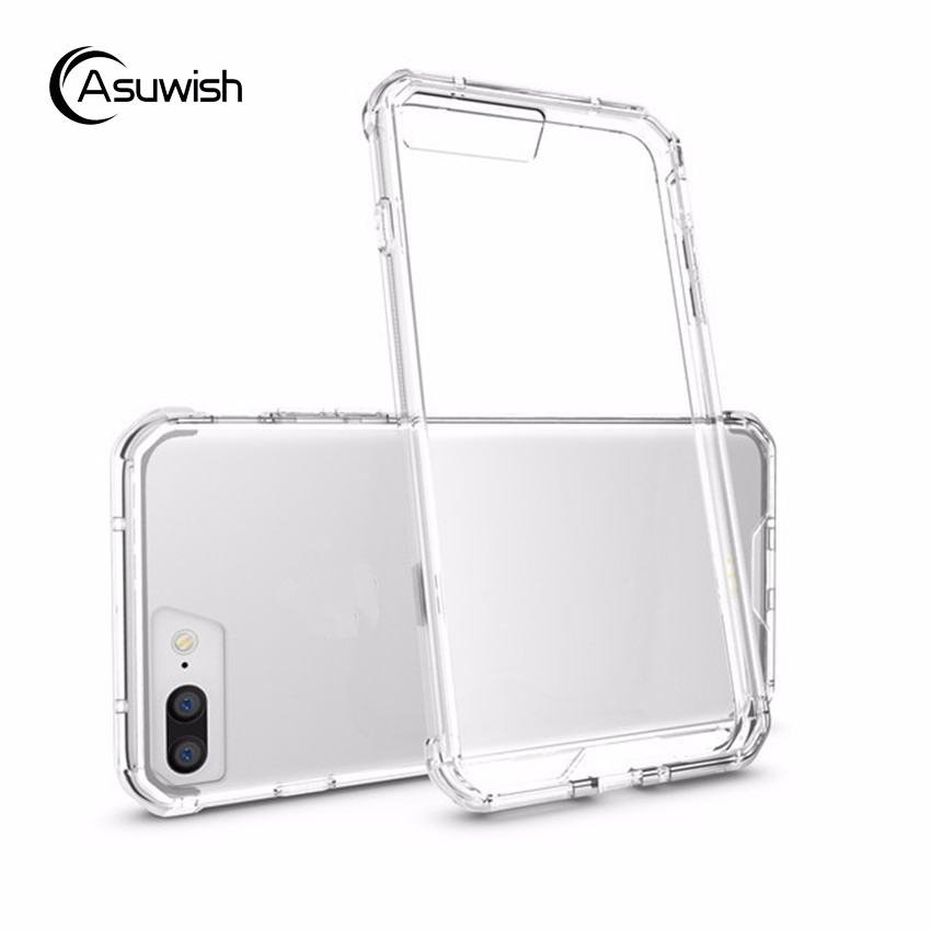Hybrid TPU Bumper Frame Air Cushion Protective Case with Clear Crystal Back Cover For Apple iPhone 7 4.7 / 7 Plus 5.5 Inch