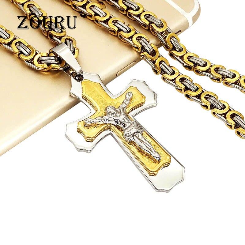 Горячая 21.65 316 lMen тяжелых ссылка византийский мода позолота Иисус крест кулон Цепочки и ожерелья Нержавеющаясталь рождественские подарки