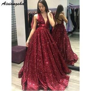 Image 2 - Verde esmeralda 2018 vestidos de baile com decote em v glitter lantejoulas vestido de baile sem costas festa maxys longo vestido de baile vestido de noite robe de soiree