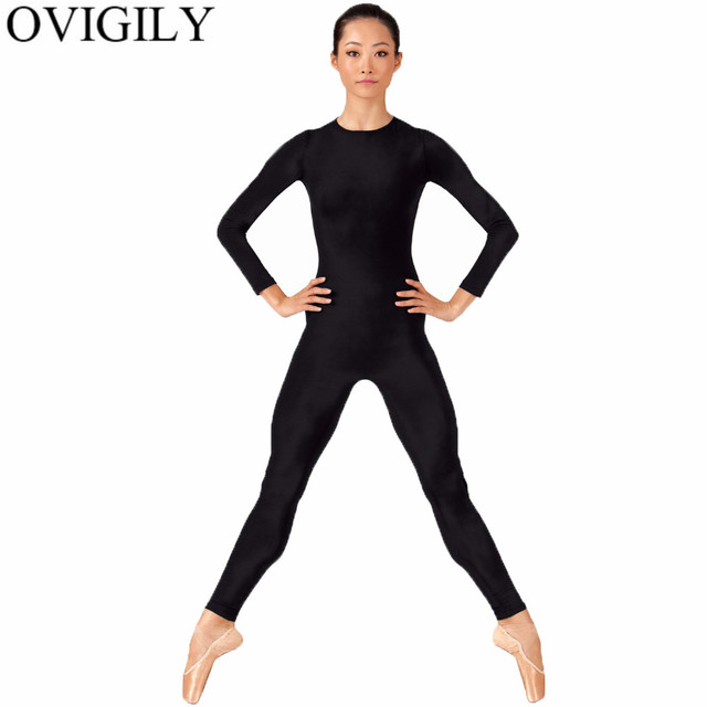 66af29acfb OVIGILY Womens Full Body Dance Unitard Adults Black Crew Neck Long Sleeve  Gymnastics Unitards Jumpsuits Sports