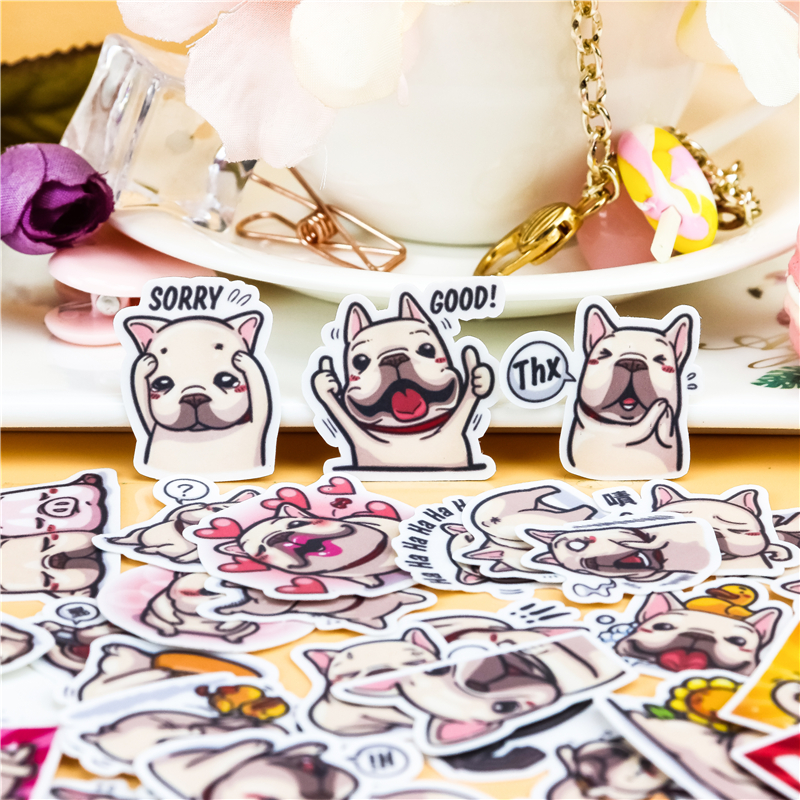 40pcs Cute Dogs Stickers DIY Decal Mobile/PC Art Rhinestone Self Adhesive Scrapbooking Stickers Car Sticker Wedding Decoration