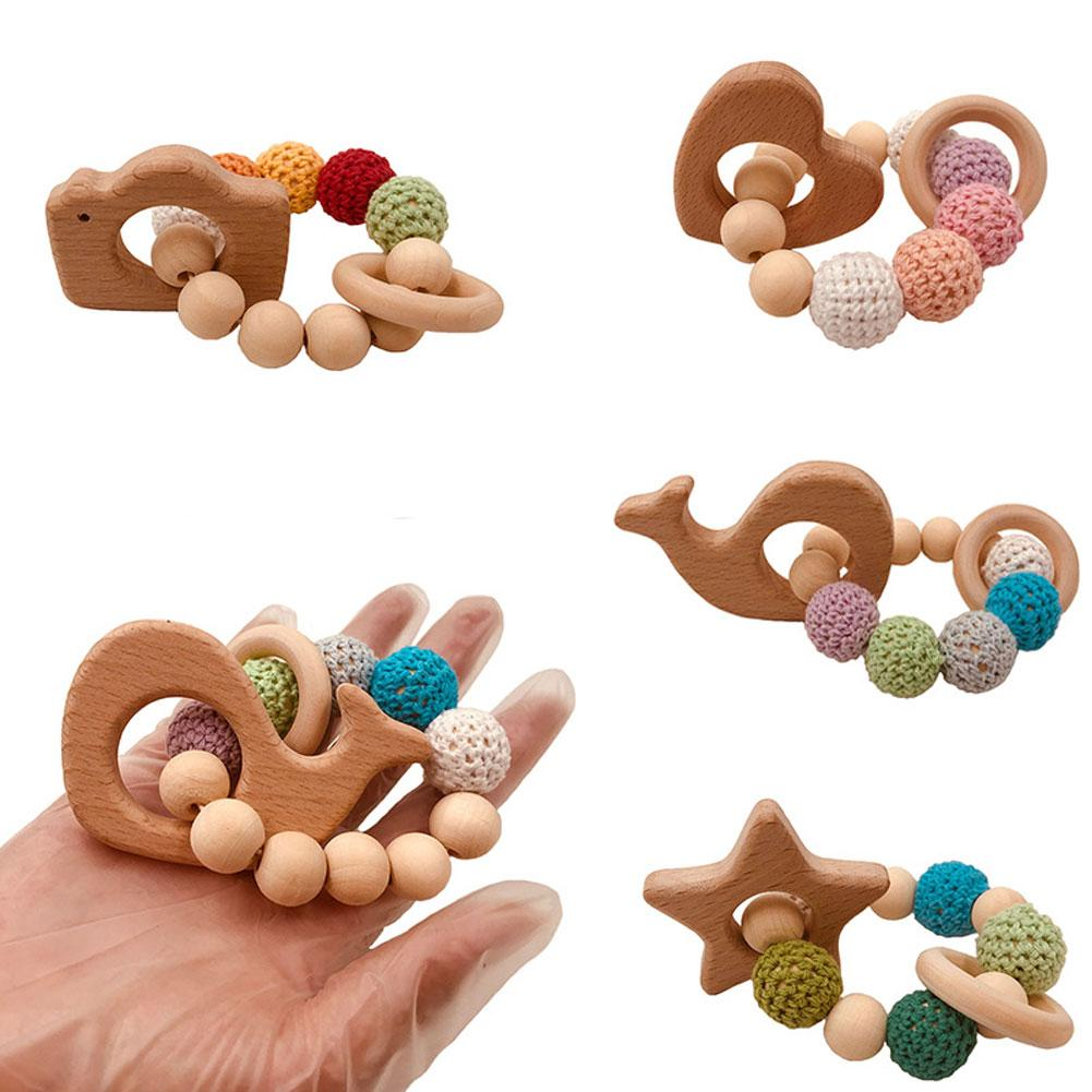 Baby Toy Wooden Pram Clip Pacifier Baby Wooden Beads Baby Bracelet Wheal Heart Star Camera Shape Teething Teether Toy