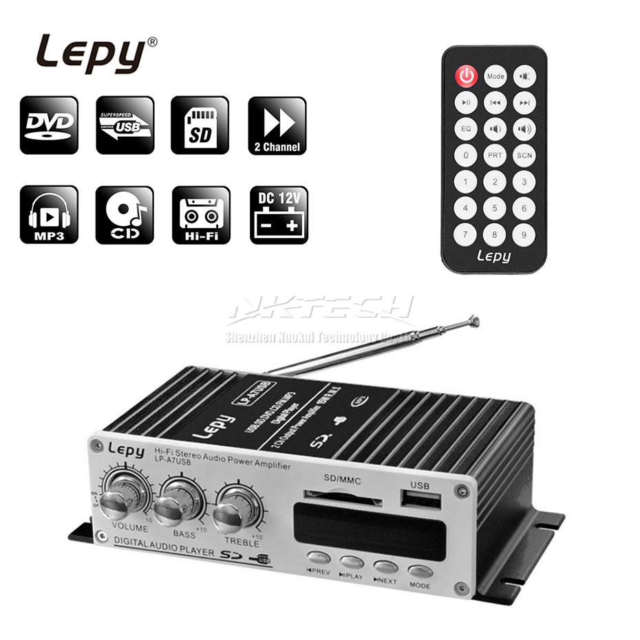 LP-A7 USB Lepy Digital Player Bluetooth 4 2 Version Car Power Hi-Fi Stereo Audio Amplifier 2CH 20W RMS Home AMP SD CD DVD MP3 FM