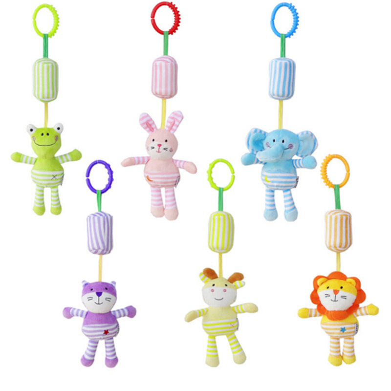 Baby Rattles & Pendant With Teether Baby Toys Elephant/Owl/Frog/Cat Animals Dolls Stroller Crib Hanging Wind Chimes