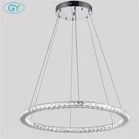 Modern D60cm D70cm D80cm LED Ring Chandelier 30W 36W 42W Led Crystal Lustres Chrome Ceiling Chandelire
