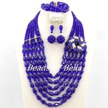 Nowe modne Royal Blue kryształowe koraliki naszyjnik afryki ślubne zestaw biżuterii ślubnej ślub zestaw biżuterii ślubnej darmowa wysyłka ABY102 tanie tanio Zestawy biżuterii Moda PLANT miss mousaie Naszyjnik kolczyki bransoletka TRENDY Ślub Kobiety Necklace Earrings Bracelet