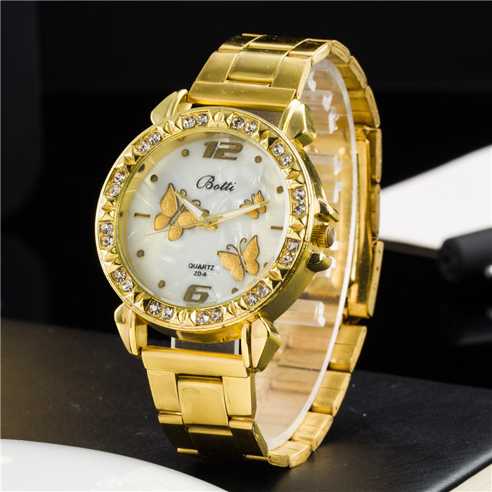 New Ybotti Fashion Brand Gold Crystal Casual Quartz Watch Women Stainless Steel Watches Relogio Feminino Ladies Clock Hot Sale 2017 new fashion brand mcykcy casual quartz watch women ultra thin metal mesh stainless steel dress watches relogio feminino hot