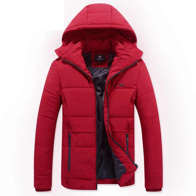 3 cores Novo 2019 Casual Clássico Homens Jaqueta de Inverno Quente Acolchoado Casaco Com Capuz Marca de Moda Outerwear