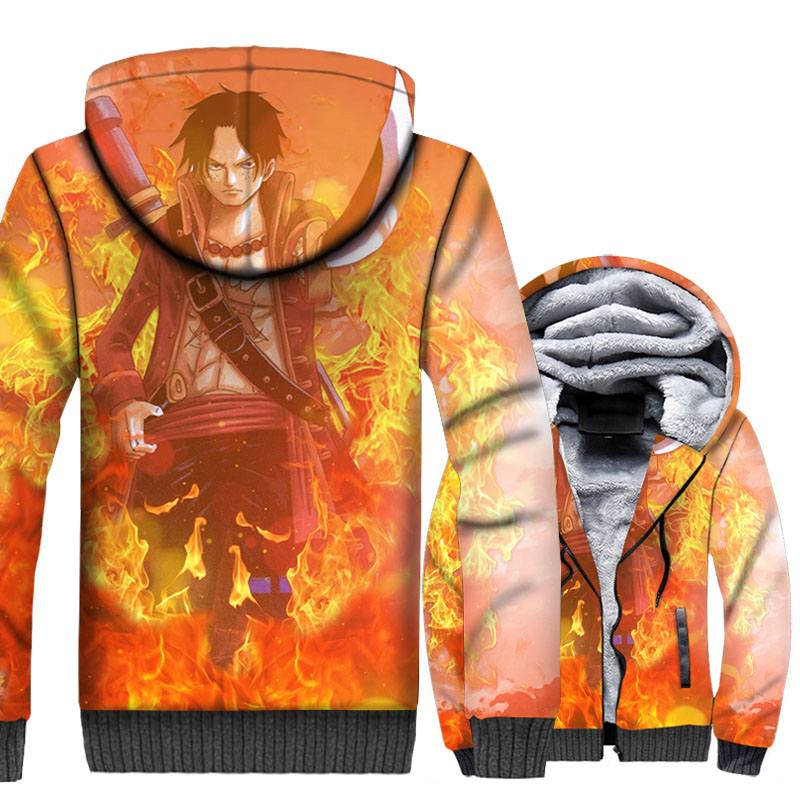 Anime One Piece Ace Hoodies Men Luffy Sweatshirts Winter Thick Fleece 3D Cool Jackets The Pirate King Coat Brand Clothing 5XL