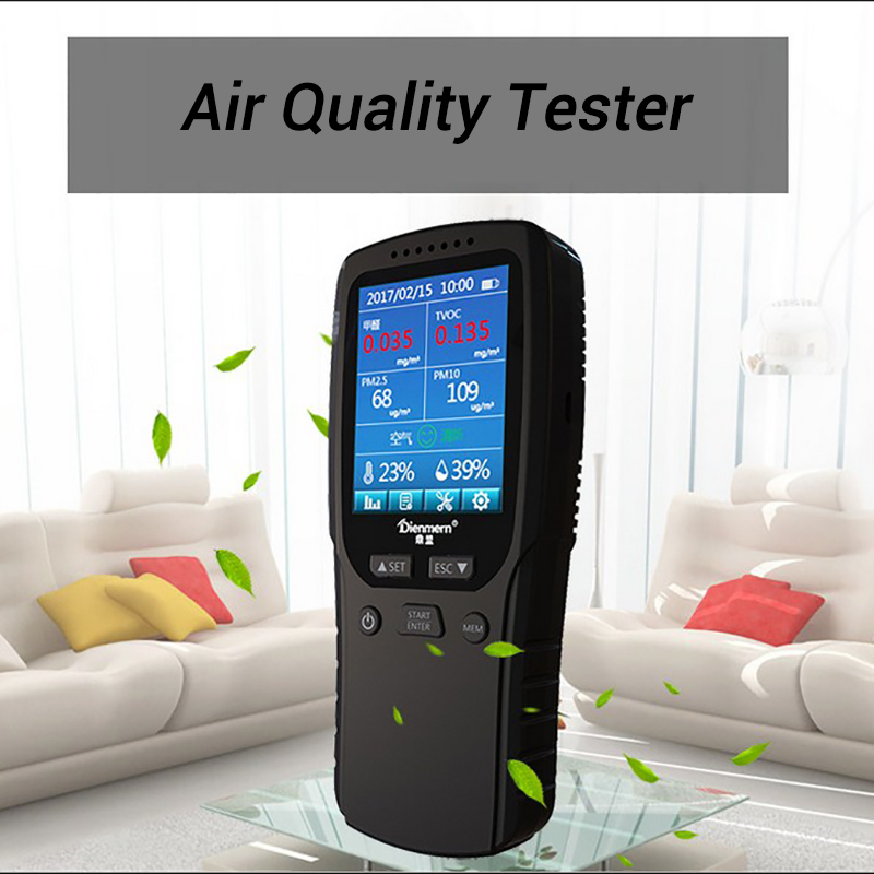 PM 2.5 Air Detector Gas Analyzer Portable Air Quality Detector Monitor CO2 TVOC PM10 Formaldehyde Multi-function Gas Detector free shipping indoor tvoc formaldehyde detector gas instrument air quality monitor from ohmeka