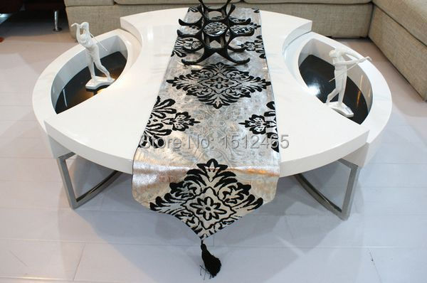 Free Shipping,New Design Suede Nap Silver Black Table Runner Wedding  Decoration Home Table Cloth