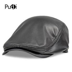 dbec6ff13b3 pudi Men s Genuine Leather baseball Cap style black hats