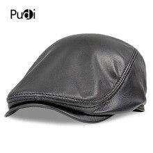 HL191 الرجال حقيقية حقيقية قبعة بيسبول جلدية العلامة التجارية الجديدة نمط جلد الغنم قبعة موزع الصحف حزام الصيد غاتسبي الأسود قبعات القبعات