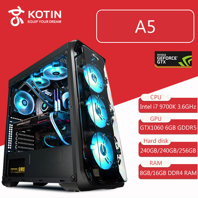 Kotin Desktop Computer Intel Core I7 9700K 3.6GHz Z390 GTX 1060 6GB DDR5 GPU 8GB/16GB DDR4 RAM Water Cooler RGB Light High End