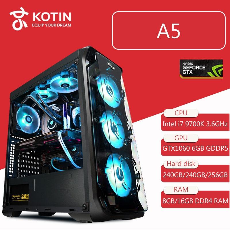 Kotin Desktop Computer Intel Core I7 9700K 3.6GHz Z390 GTX 1060 6GB DDR5 GPU 8GB/16GB DDR4 RAM Water Cooler RGB Light High End