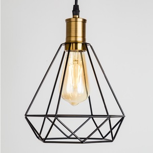 ZhaoKe Modern Industrial Vintage Cage Pendant Light Iron Art Diamond Pyramid Wrought home Ceiling Lamp Suitable for E27 bulbs(China)