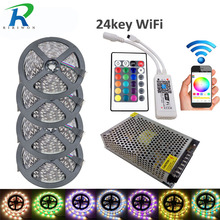 20m 5M/Roll 300LEDs LED Strip RGB+White+Warm White 5050SMD DC12V 60led/m Flexible Strip+wifi 24key controller+15A power supply