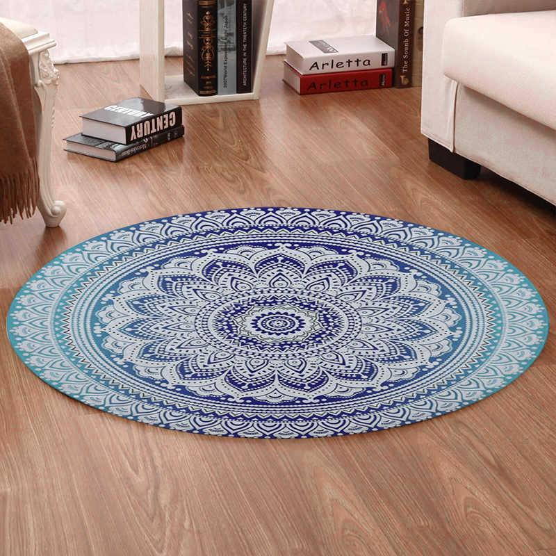 Bohemian Estilo Miracille Mandala Padrão Tapete Rodada Não-Deslizamento Esteira De Banho Macio Macio Veludo Coral Tapete de Área para Sala de estar decoração do quarto